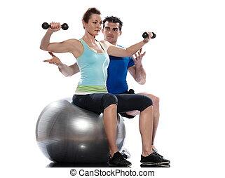 training, frau, gewicht, worrkout, mann, haltung