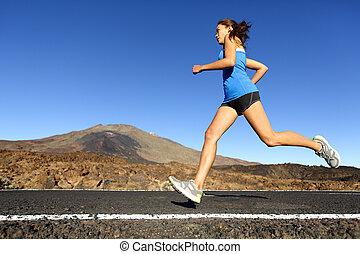 training, frau, sprinten, läufer, -, rennender , weibliche