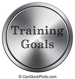 Training goals icon. Round icon imitating metal.