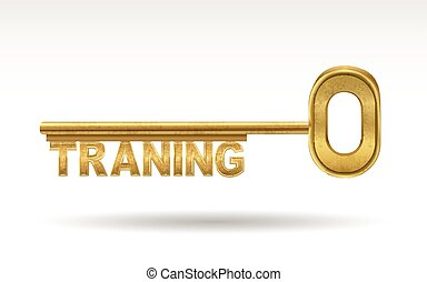 training - golden key isolated on white background
