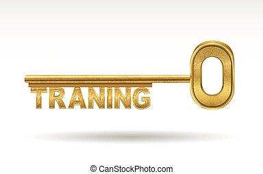 training - golden key isolated on white background