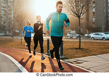 training, gruppe, sportliche , gesunde, entschlossen, fitness, toge, friends