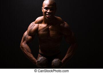 training, hanteln, muskulös, mann