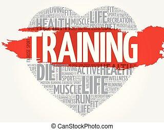 Training heart word cloud