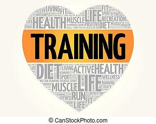 Training heart word cloud, fitness