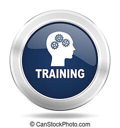 training icon, dark blue round metallic internet button, web and mobile app illustration