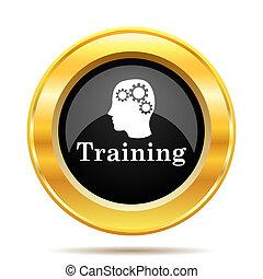 Training icon. Internet button on white background.