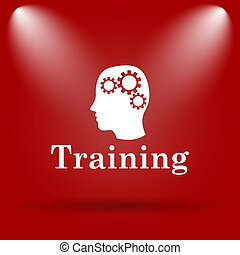 Training icon. Flat icon on red background.