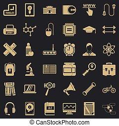 Training icons set, simple style