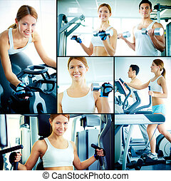 Training in health club - Collage of pretty girl and young...