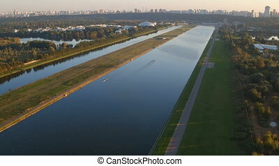 Training in rowing in Moscow 4K aerial video