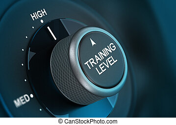 Training Level Concept, Coaching - Training button pointing...