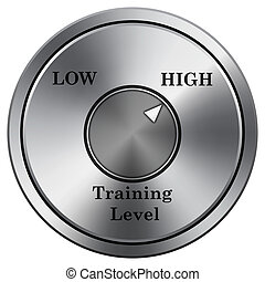 Training level icon. Round icon imitating metal.