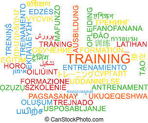 Training multilanguage wordcloud background concept