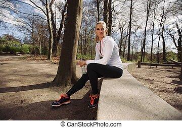 training, natur, läufer, nehmen, rest, weibliche