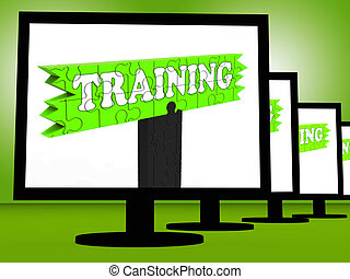 Training On Monitors Showing Coaching Shows