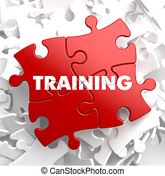 Training on Red Puzzle. Educational Concept. - Training on...