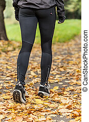 Training outdoor in autumn day
