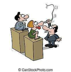 Training people - Cartoon of a man who is whipping to train...
