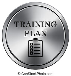 Training plan icon. Round icon imitating metal.