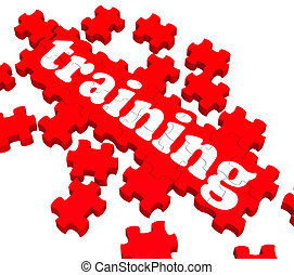 Training Puzzle Showing Business Coaching And Instructing