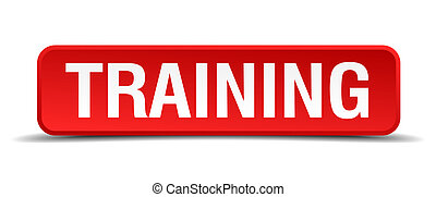 Training red 3d square button isolated on white