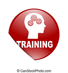 training red circle glossy web icon