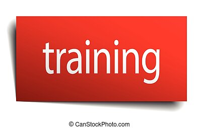 training red paper sign on white background