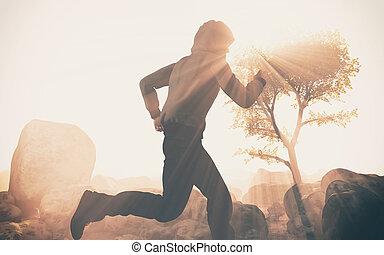 training, rennender , in, schwierig, krankheit