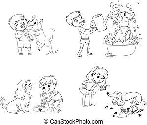 training., rigolote, caractère, dessin animé, chien
