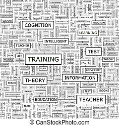 TRAINING. Seamless pattern. Word cloud illustration.