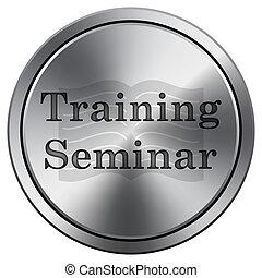 Training seminar icon. Round icon imitating metal.