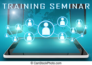 Training Seminar - text illustration with social icons and...
