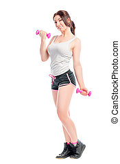 training session exercises with dumbbells girl performs
