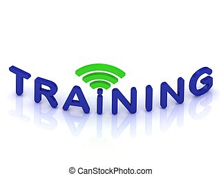 TRAINING sign with the green antenna on isolated white...