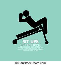 training., simbolo, uomo, ups, sedere