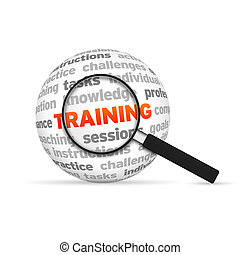 Training - Magnyfying Glass zooming in on a 3d Training Word...