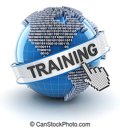 Training symbol with digital globe, 3d render