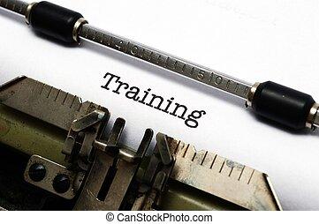 Training text on typewriter