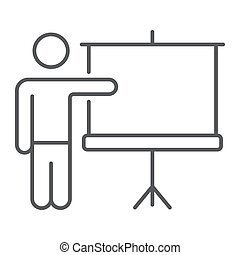 Training thin line icon, e learning and education, presentation sign vector graphics, a linear pattern on a white background, eps 10.