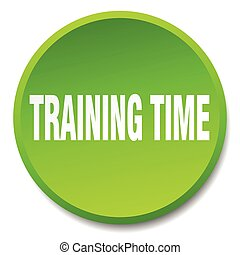 training time green round flat isolated push button