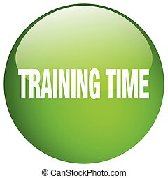 training time green round gel isolated push button