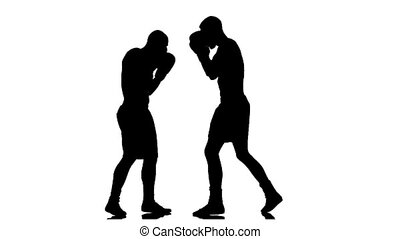 Training two boxers. Turns away from the right hook