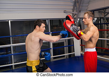Training. Two confident men boxing on the ring
