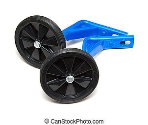 Training wheels on white background off bike