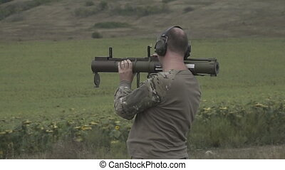 Training with a grenade launcher. Slow motion - Training...
