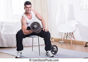 Training with dumbbell