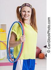 Training with hula hoops