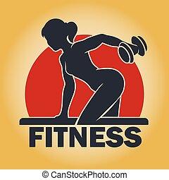 Training woman fitness emblem