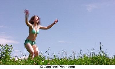 Training woman on grass